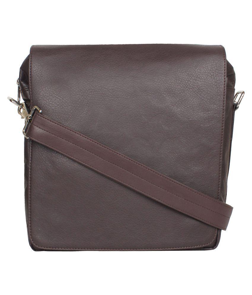 P&YFASHION Brown P.U. Casual Messenger Bag