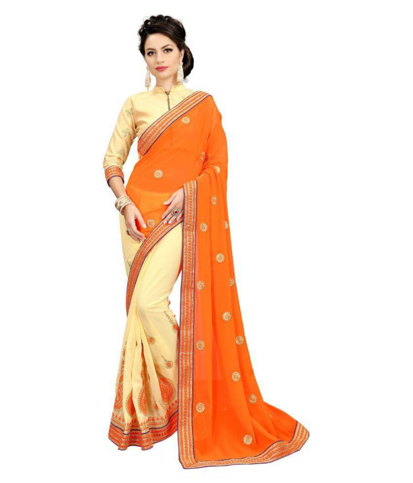 SERENEVA SALES Orange Georgette Saree