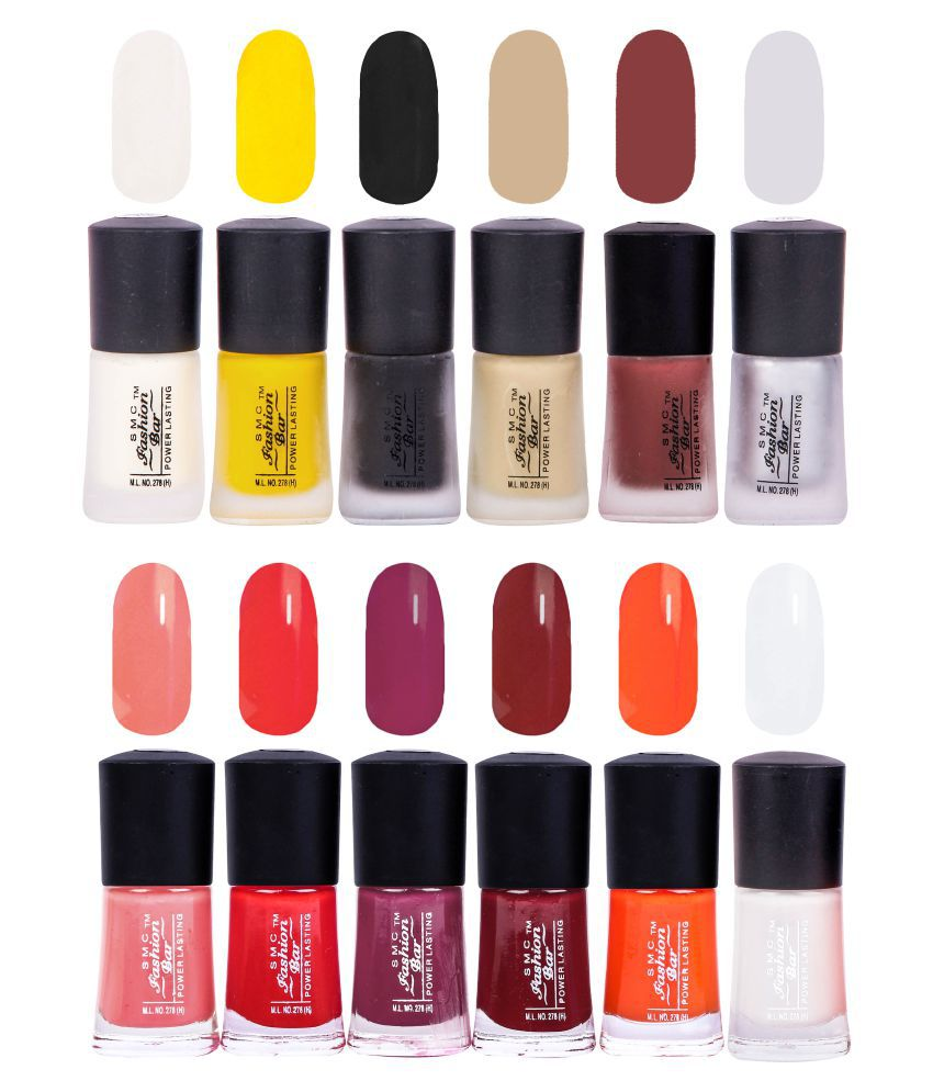SMC FASHION BAR Nail Polish Neon Nail Paint Combo of 12 Matte 108 ML