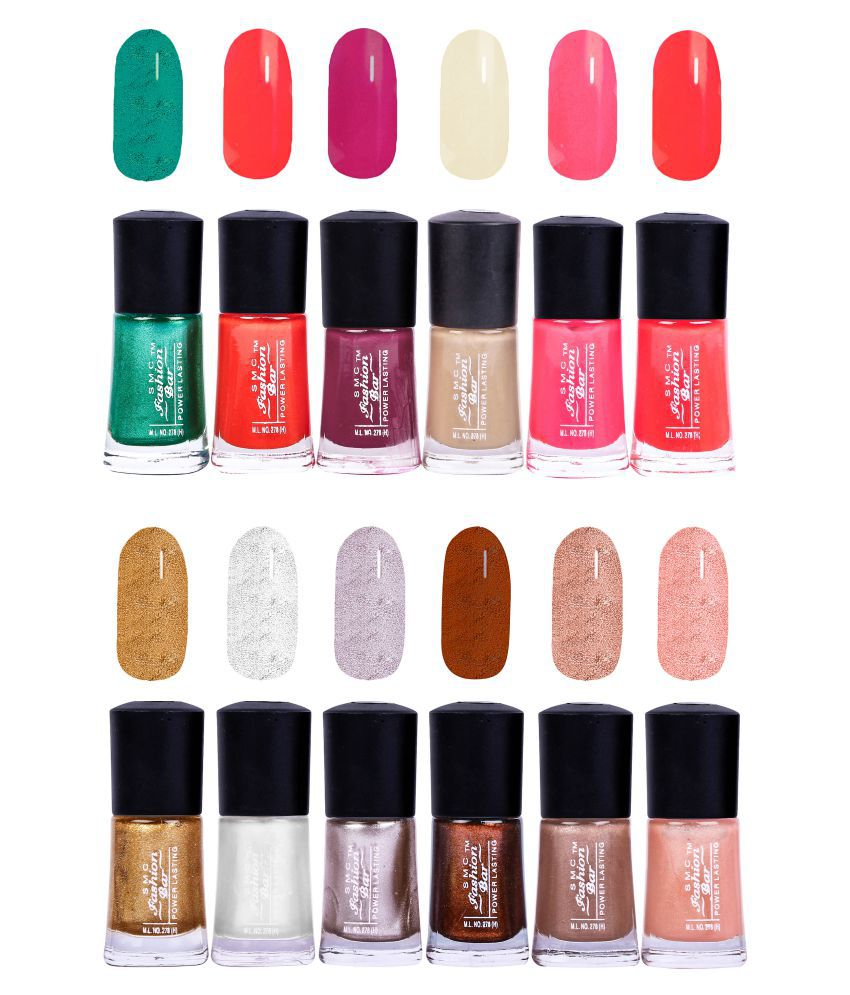 SMC FASHION BAR Nail Polish Trendy Nail Paint Combo of 12 Matte 108 ML