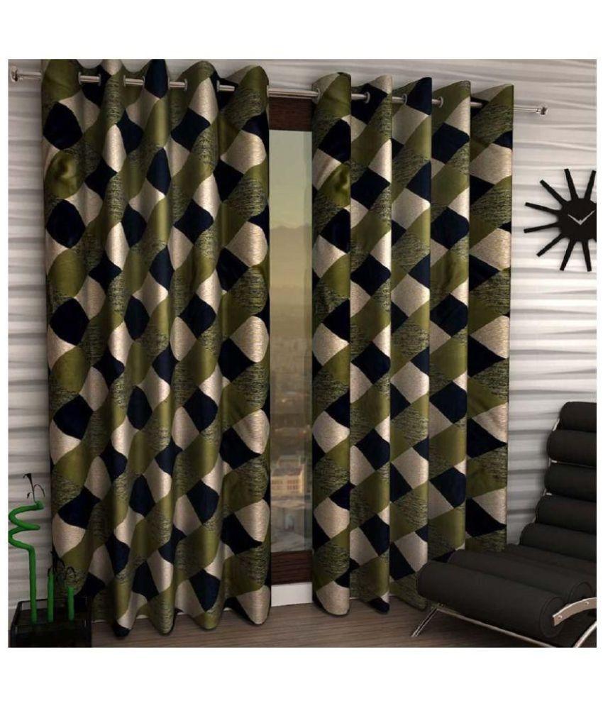 Tanishka Fabs Set of 2 Window Semi-Transparent Eyelet Polyester Curtains Green