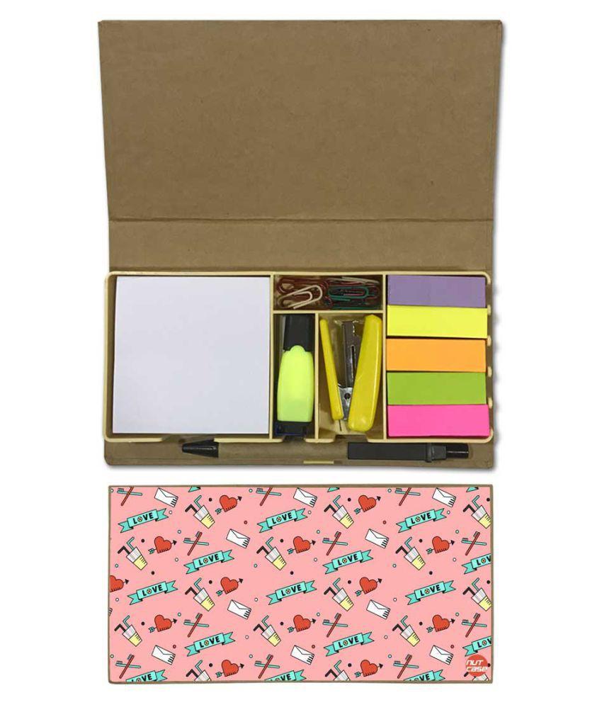 Nutcase Designer Stationary Kit Desk Customised Organizer Memo Notepad - Cute Love