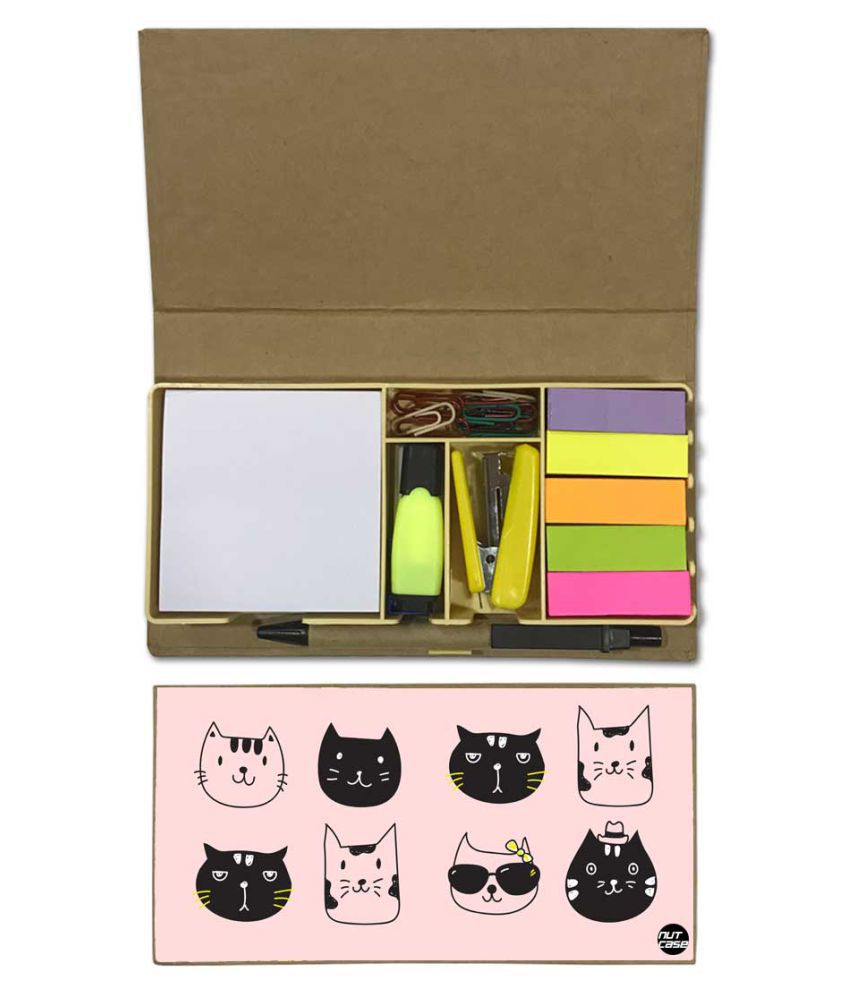 Nutcase Designer Stationary Kit Desk Customised Organizer Memo Notepad - Cute Cats Kitty