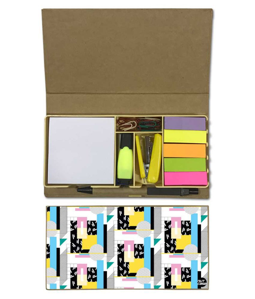 Nutcase Designer Stationary Kit Desk Customised Organizer Memo Notepad - Pastel Patterns