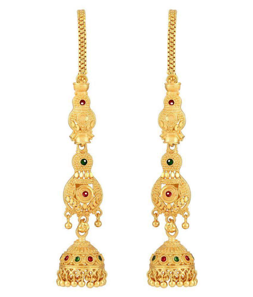 Asmitta Traditional Meenakari Work Gold Plated With Long Patta Chain Brass Jhumki Earring For Women