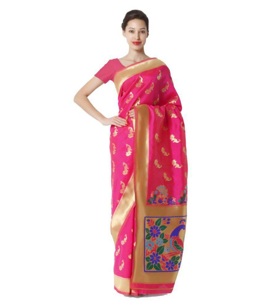 Makewayin Pink Viscose Saree