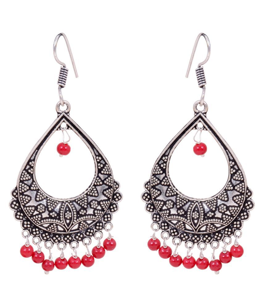 48bcd8f22 Oxidized Silver Plated Dangle & Drop Earrings for Women - Red - Buy  Oxidized Silver Plated Dangle & Drop Earrings for Women - Red Online at Best  Prices in ...