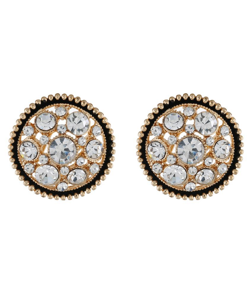 One Stop Fashion Gold colour Round Design Stud Earrings for Girls and Women