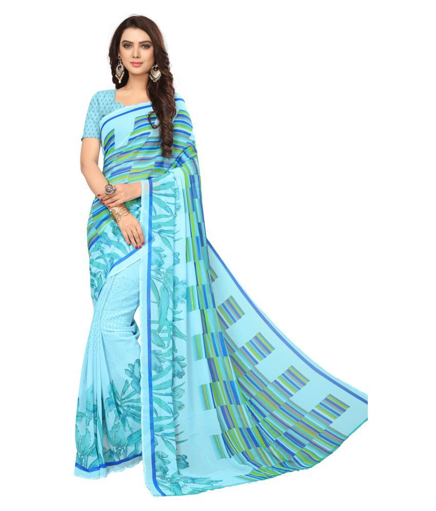 Yashraj Export Green and Blue Georgette Saree