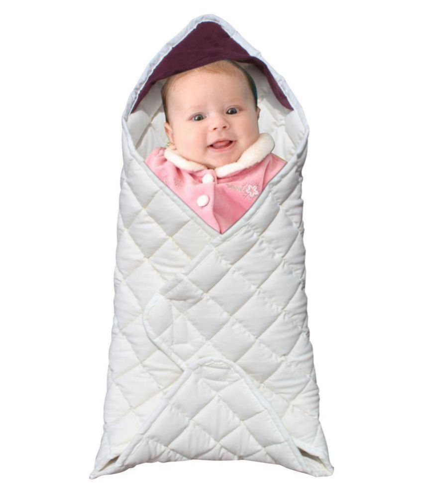 Ryan Overseas White Cotton Baby Wrap cum blanket ( 60 cm × 29 cm - 1 pcs)