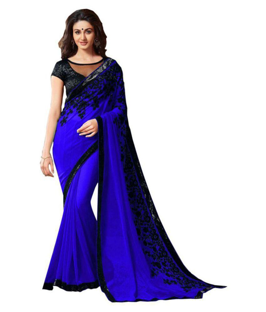 Designer Bahu Blue Georgette Saree