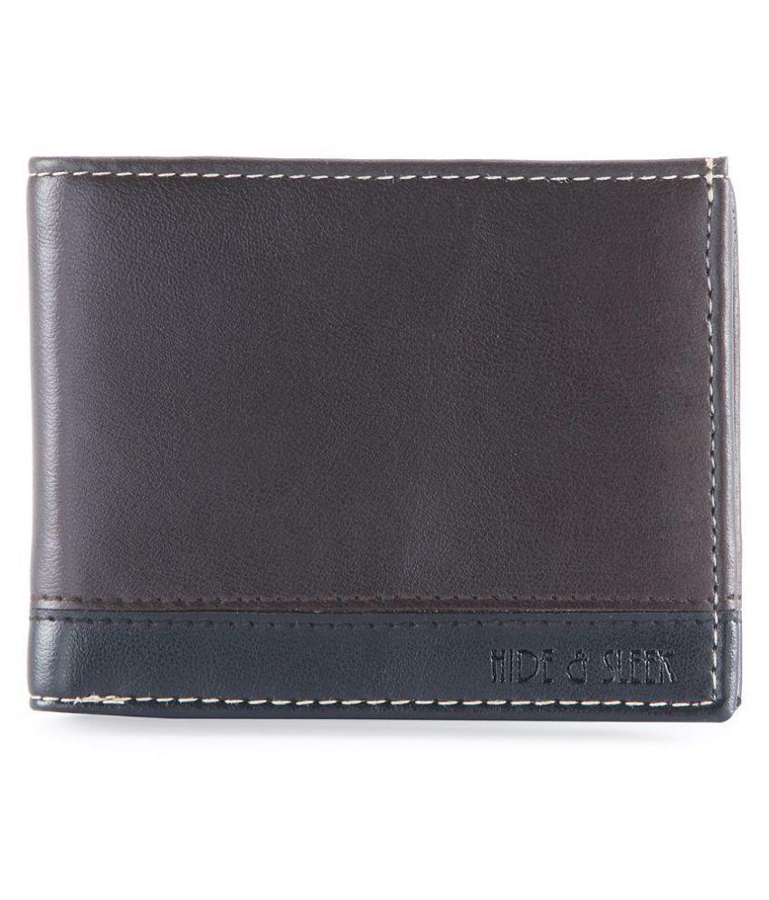 Hide&Sleek Faux Leather Brown Casual Short Wallet