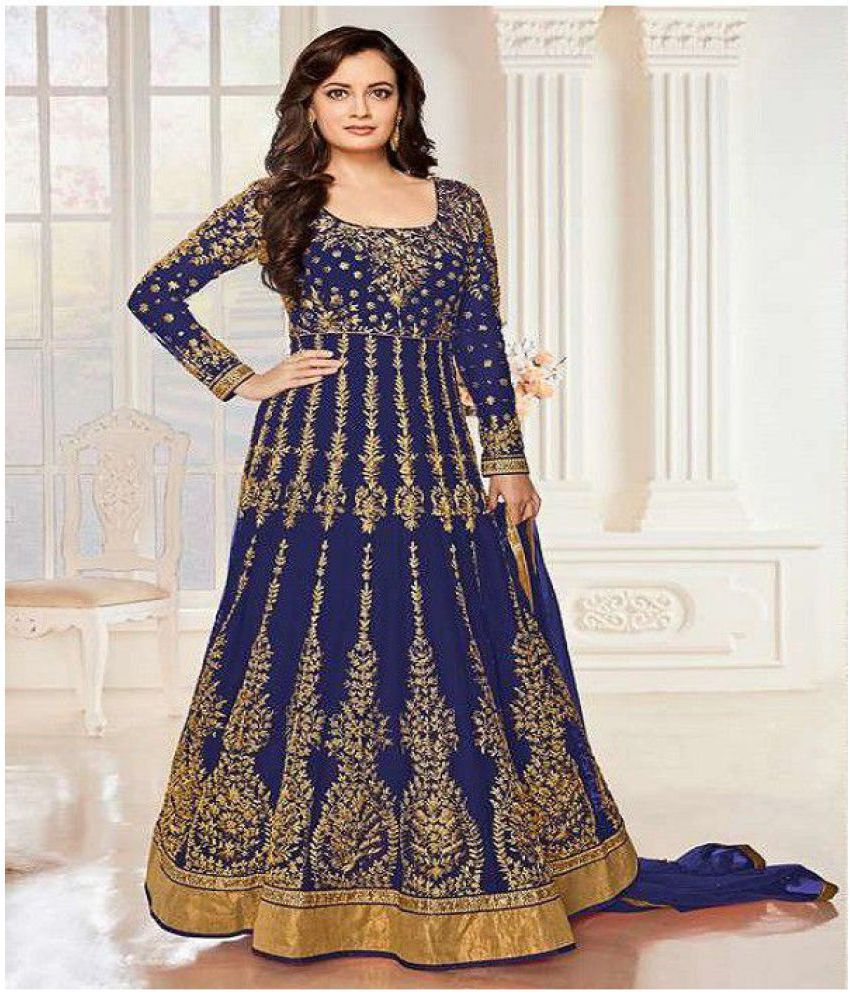 8b54d6a51 Jesti Designer Blue and Grey Net Anarkali Semi-Stitched Suit - Buy Jesti  Designer Blue and Grey Net Anarkali Semi-Stitched Suit Online at Best Prices  in ...