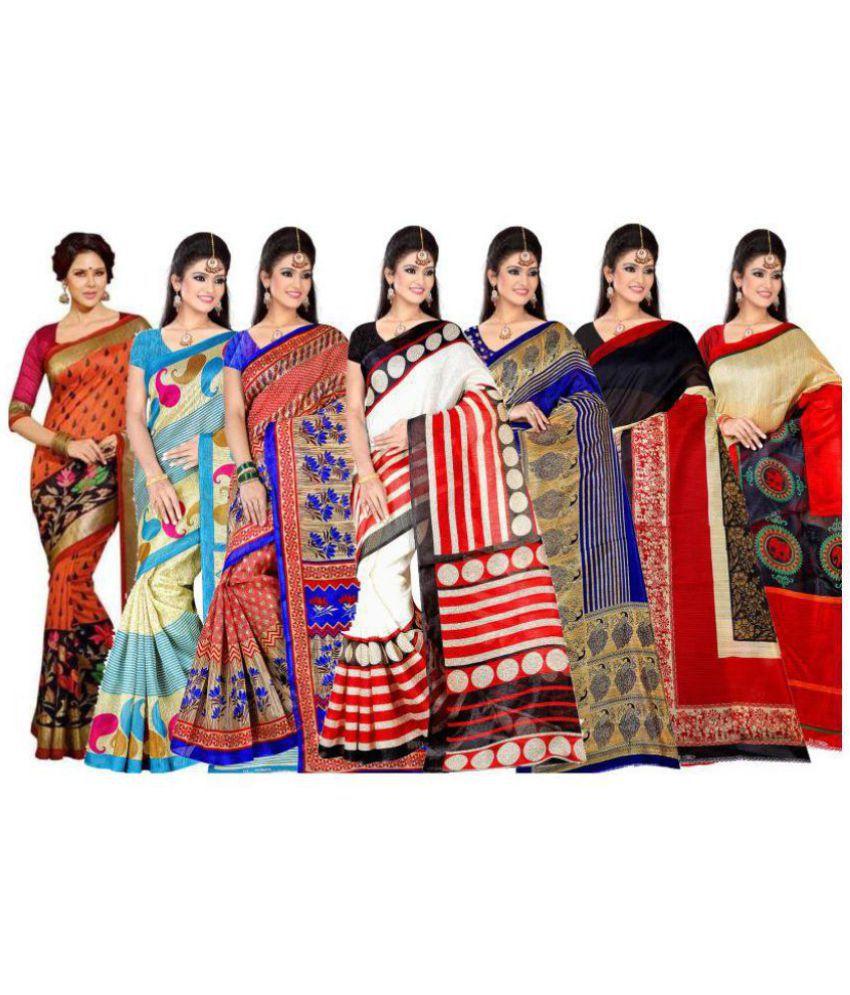 Khatu Shyam Multicoloured Bhagalpuri Cotton Saree Combos