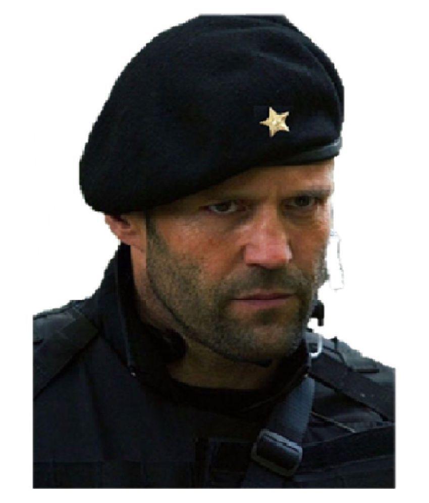 GIABELLA Black Plain Wool Caps