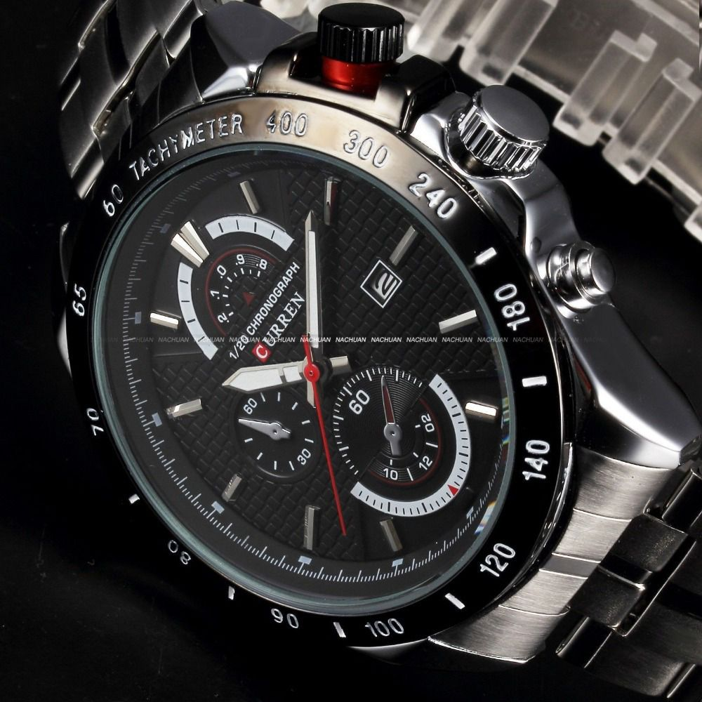 1df7368e8 1 Pc Mens Stylish Chronograph Watch Metal Chronograph Men's Watch Black -  Buy 1 Pc Mens Stylish Chronograph Watch Metal Chronograph Men's Watch Black  Online ...