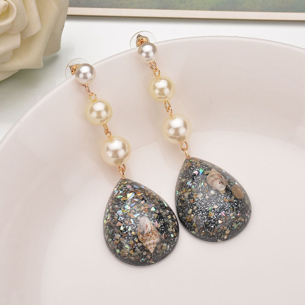 Levaso Fashion Jewelry Womens Earrings Ear Studs Shell 1Pair Personality Gifts Black