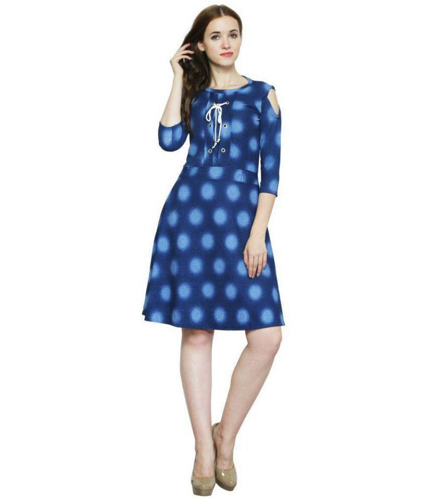 AD & AV Faux Leather Blue A- line Dress