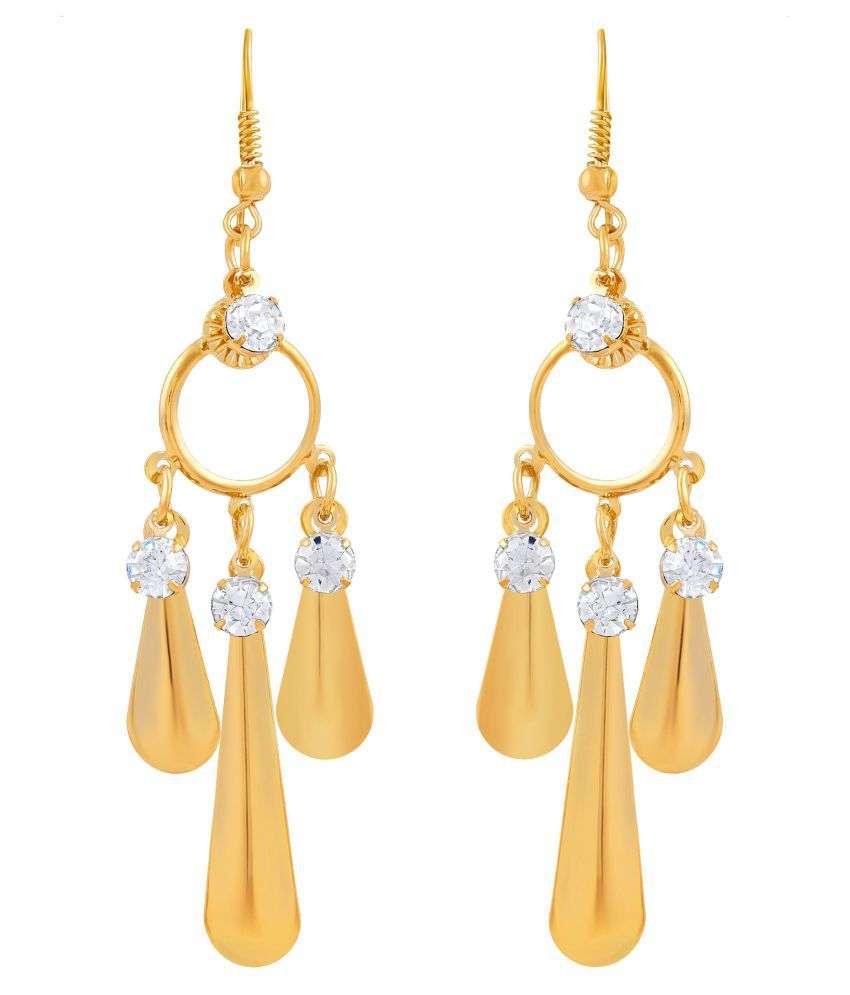 Asmitta Bewitching Round Shape Triangle Gold Plated Hanging Earring For Women