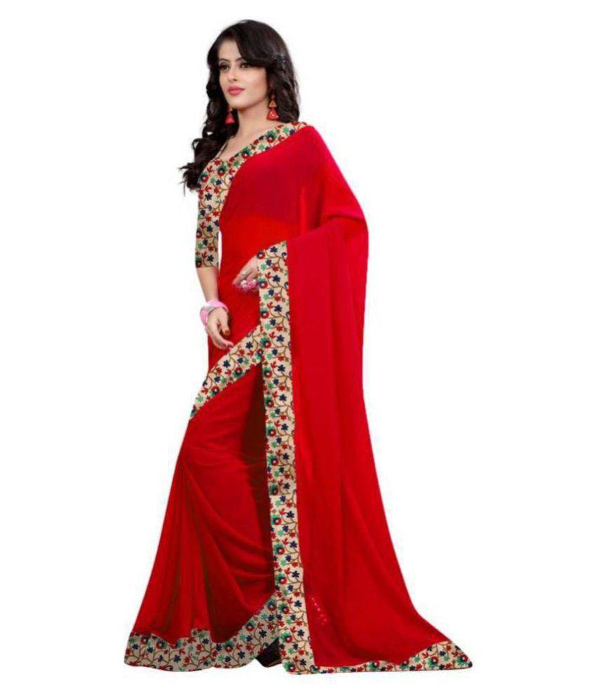 Bhuwal Fashion Red Georgette Saree