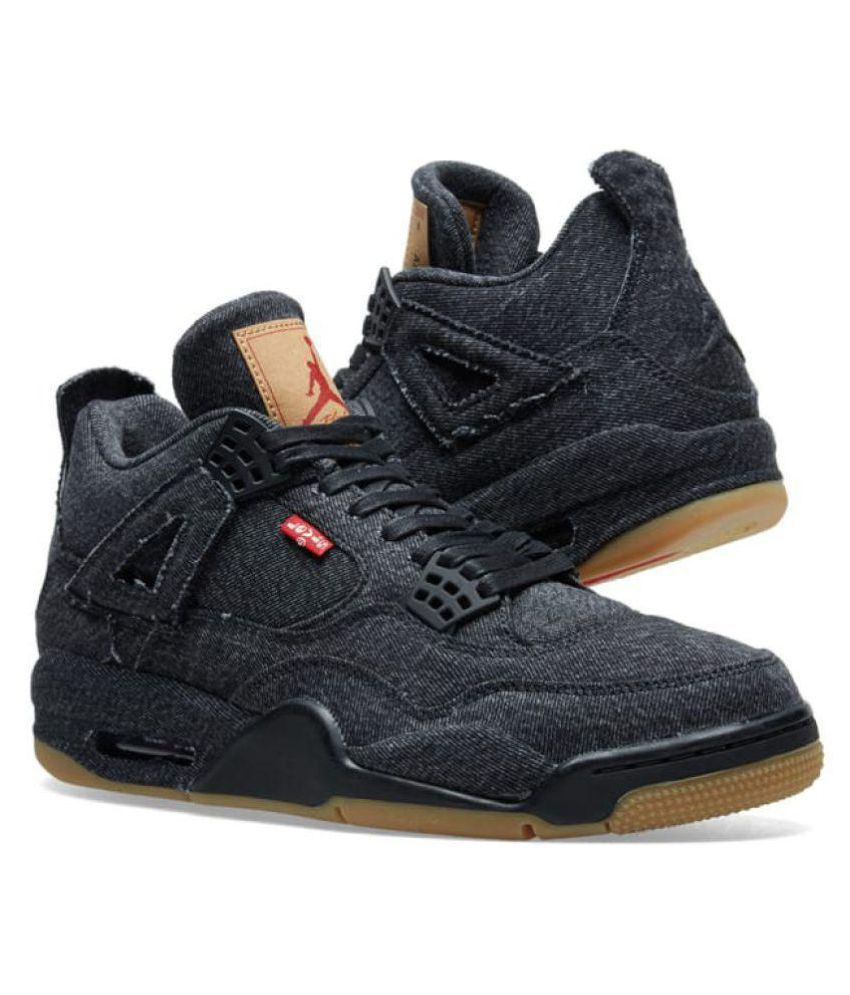 "best sneakers 23fcd da722 Jordan Levi's x 4 ""Denim"" Black Basketball Shoes"