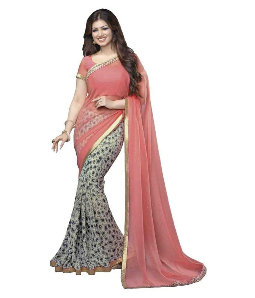 Kalapy Fashion Pink and Grey Georgette Saree