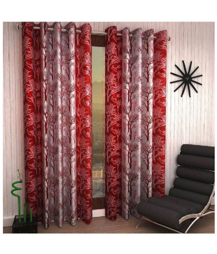 Tanishka Fabs Set of 2 Window Semi-Transparent Eyelet Polyester Curtains Maroon