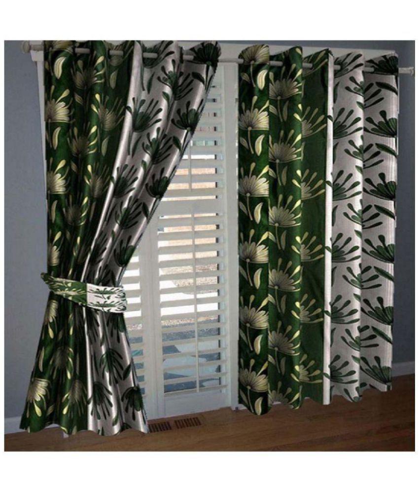 Tanishka Fabs Set of 4 Window Semi-Transparent Eyelet Polyester Curtains Green