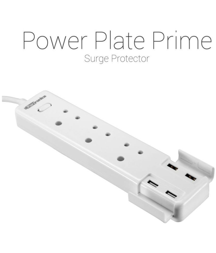 Portronics Extension Box Spike with 3 Socket & 4USB Ports Surge Protector