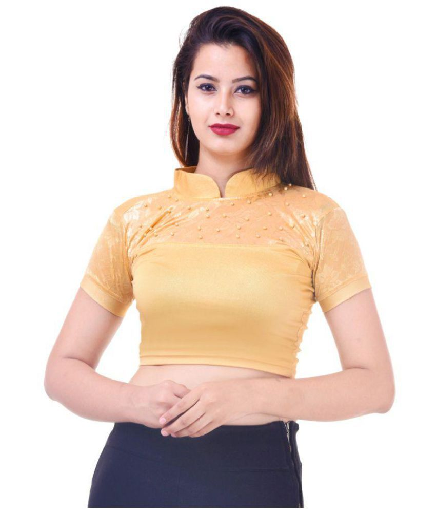 Wow Gold Shimmer Readymade without Pad Blouse