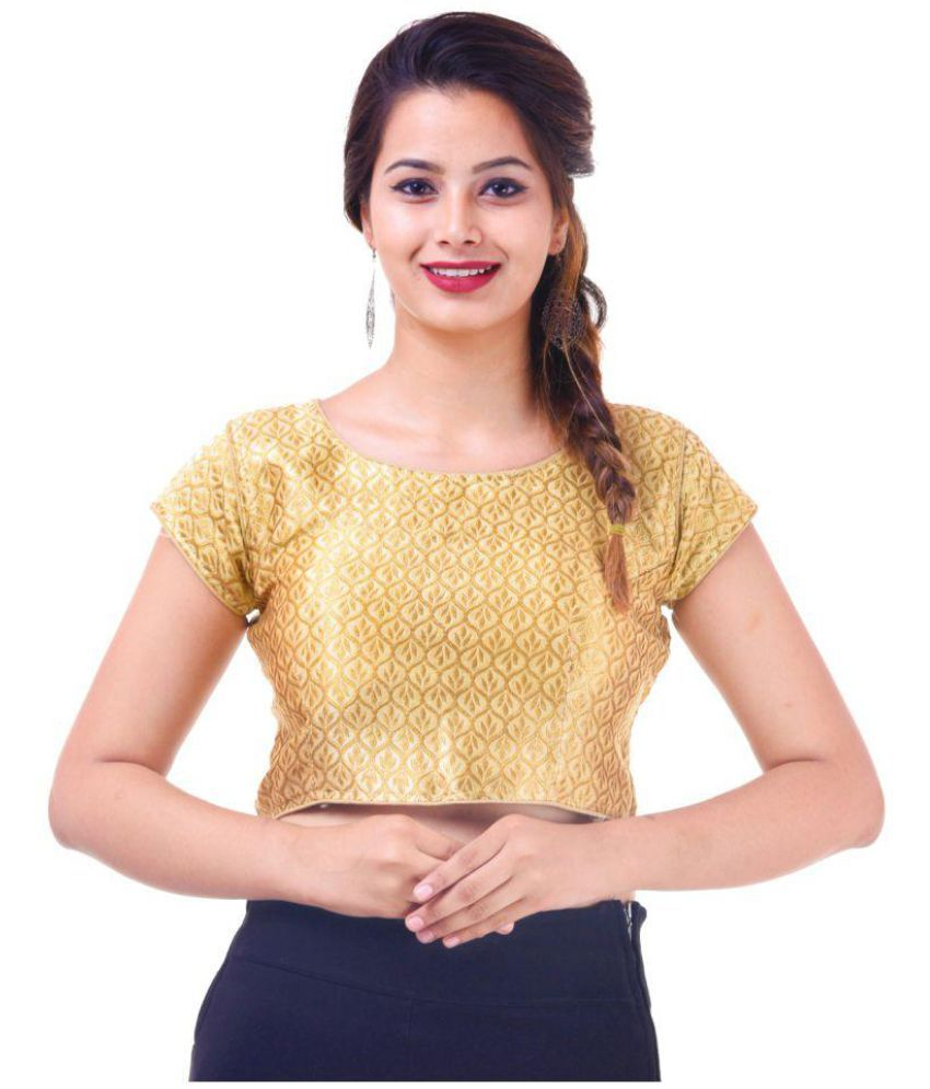 Wow Gold Silk Readymade with Pad Blouse