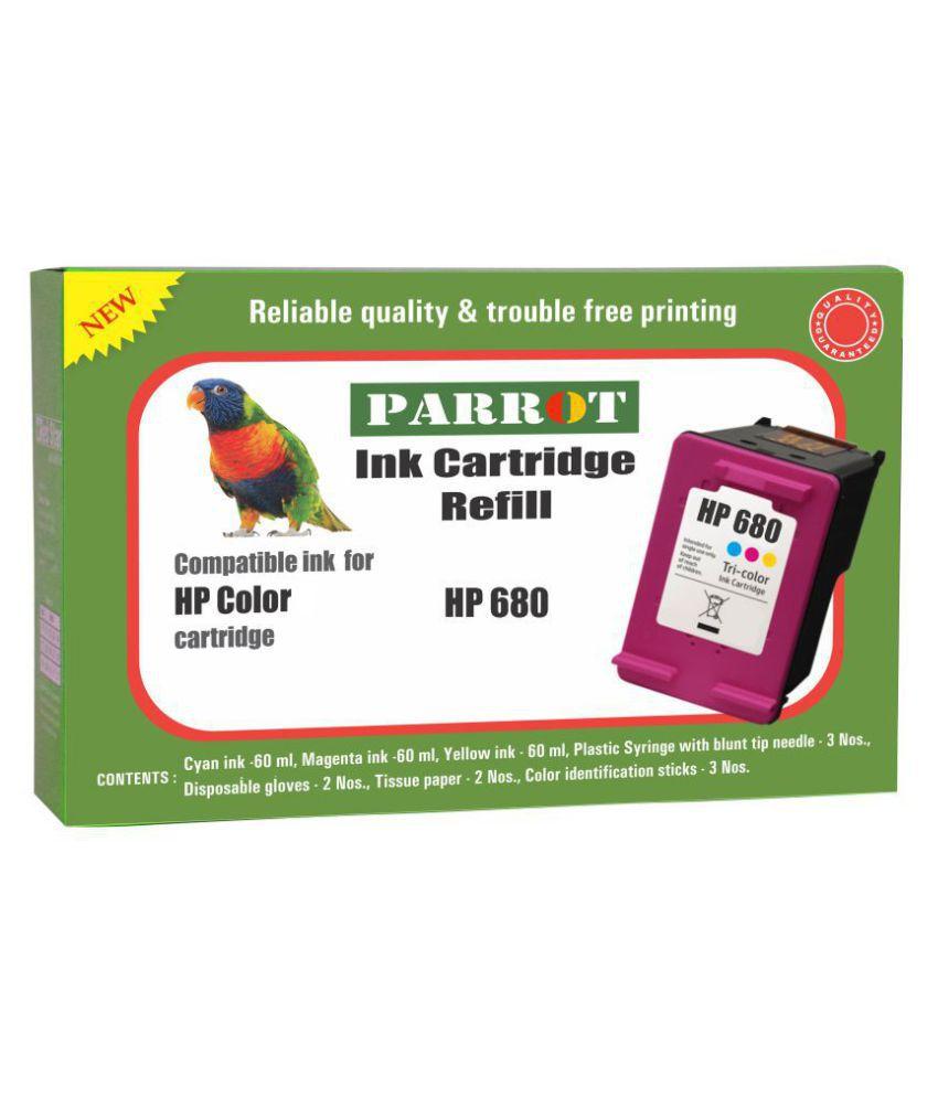 Parrot cartridge refill ink HP 680 color ink cartridge