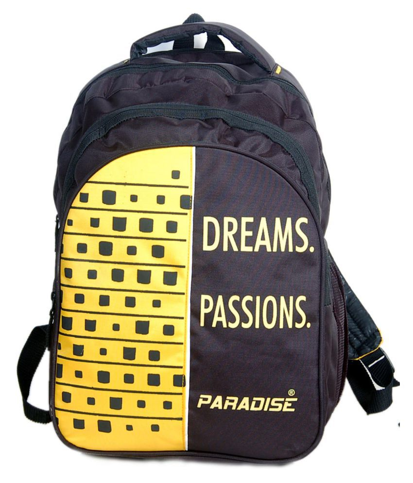 PARADISE black  amp; yellow school bag Backpack