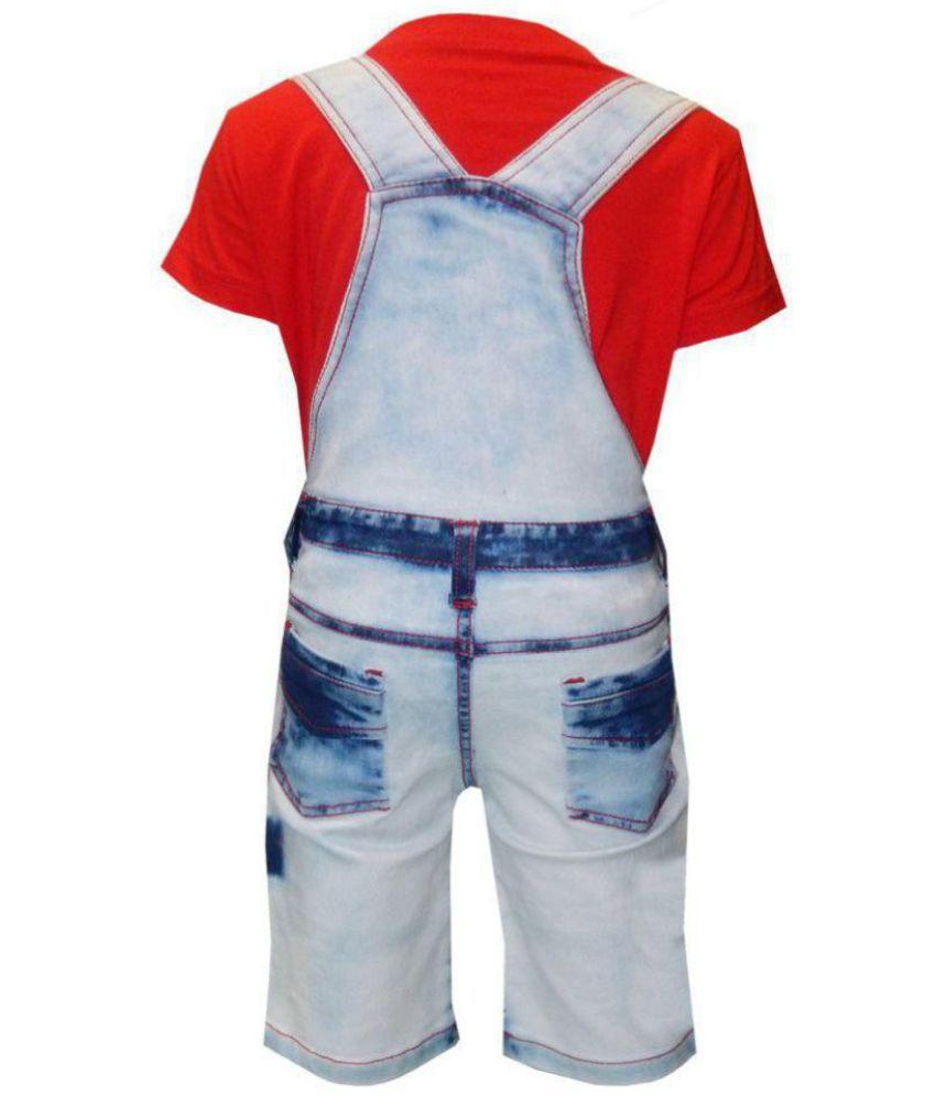 2b6053e918 ... Kooka Kids Boys Dungaree With Half Sleeves Round Neck T-Shirt And Denim  Bottom (