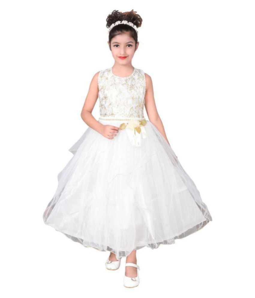 1f470115eb Sky Heights Girls' White Net Long Frock/ Gown (Party Wear Dress for ...