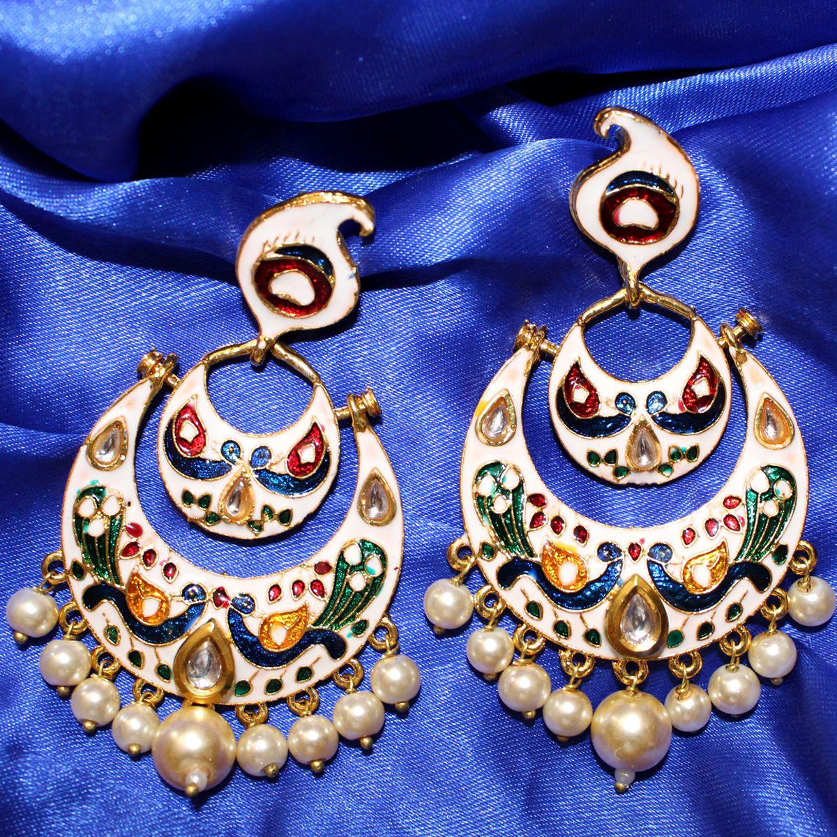 Ganesh Chaturthi Special  White Brass Kundan Meenakari Big Bali Danglers for Women