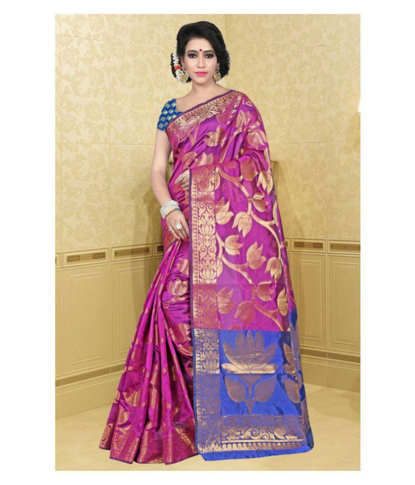 Gazal Fashions Pink and Purple Silk Saree
