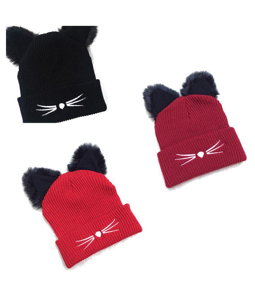 a4da9fa93d86e Warm Winter Hat for Women 2018 Wool Knitted Womens Cat Ears Faux Mink Hats  Skullies Fur ...