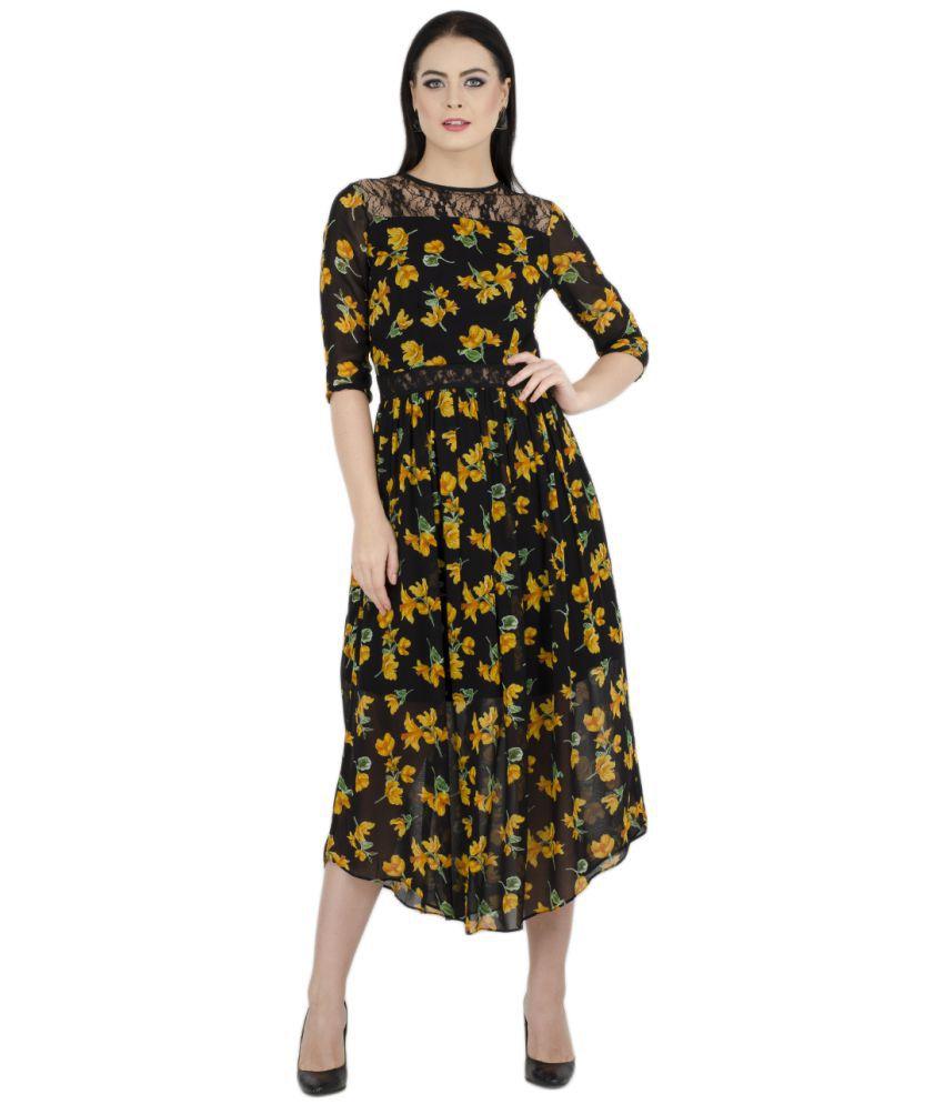 bahrupiya clothing Viscose Black A- line Dress