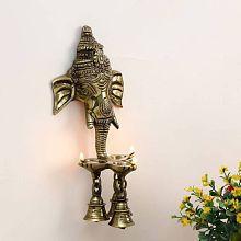 Aakrati Wall Hanging Three Diya Oil Lamp Decorative Showpiece - 25 cm