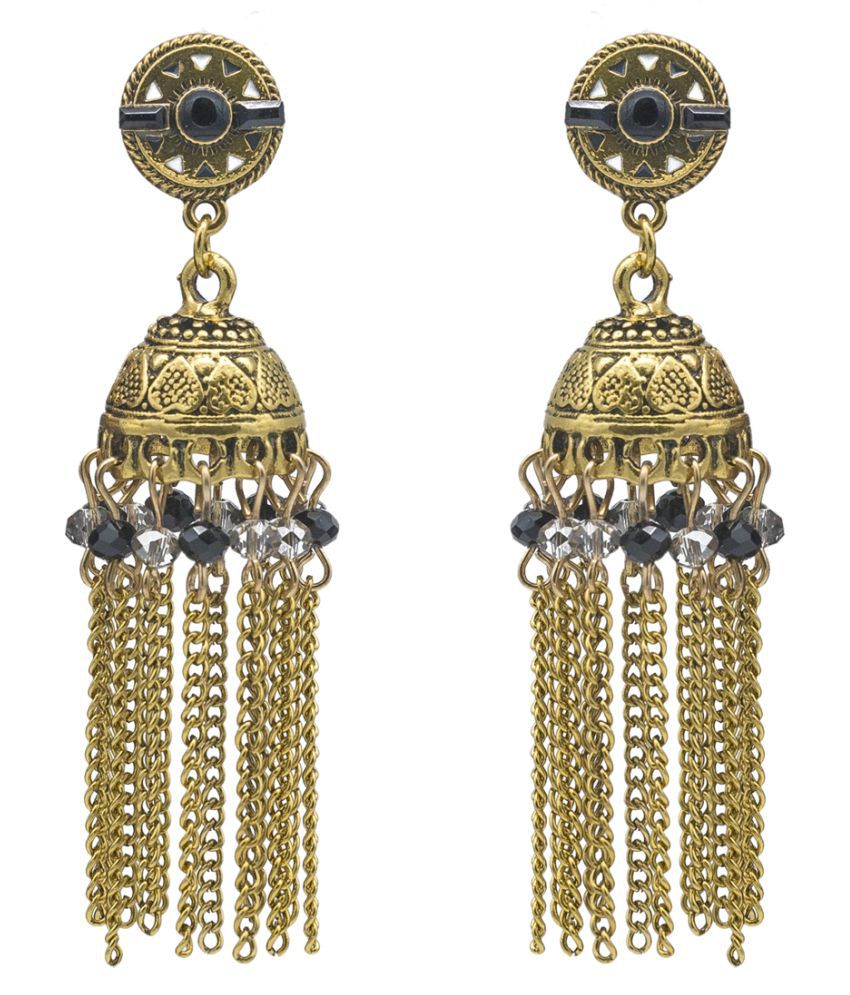 Kiyara Accessories Fashion jewellery colourful beads with alloy jhumki and long chain in golden antique plating for girls and women. (Black)