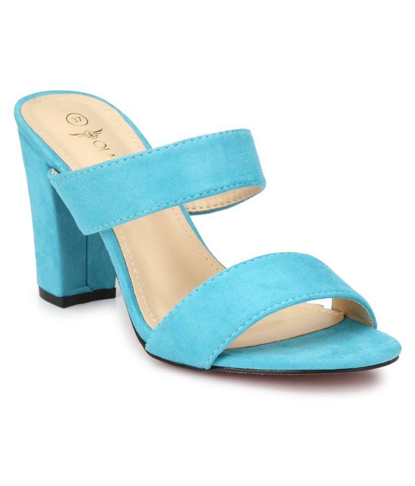 OLMIITE Blue Block Heels