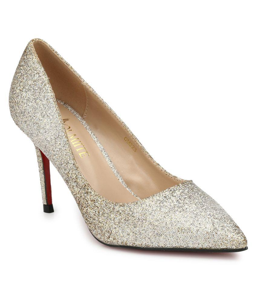 OLMIITE Gold Stiletto Heels