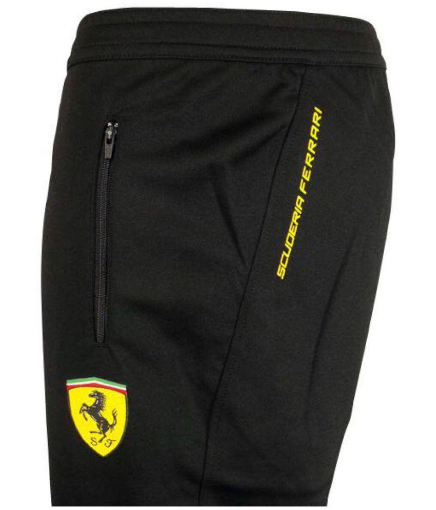 Puma Black Polyester Lycra Trackpants