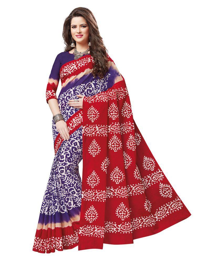 Ishin Red and Purple Cotton Saree