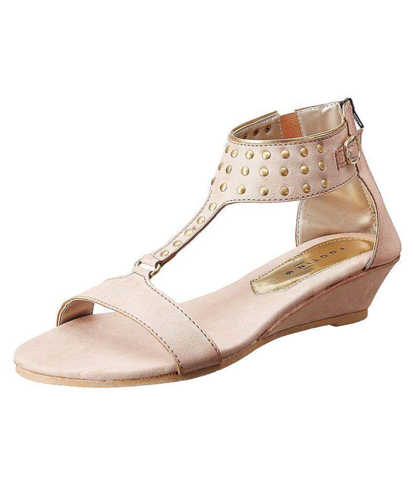 Footin Pink Wedges Heels