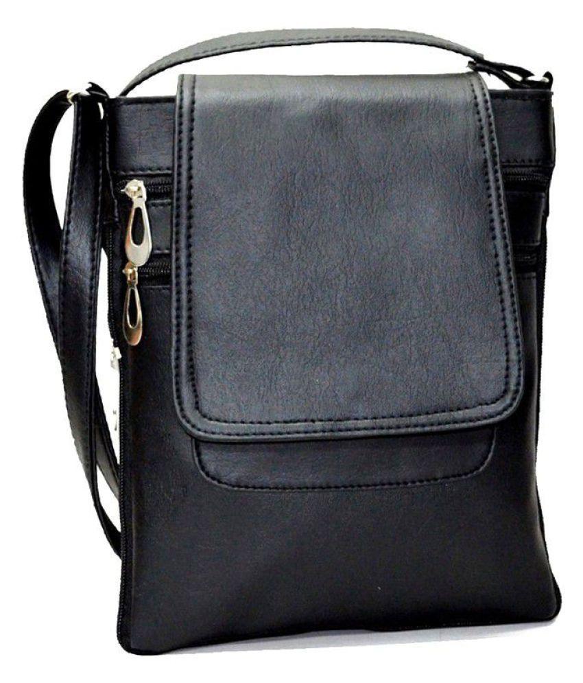 Utsukushii Black Faux Leather Sling Bag