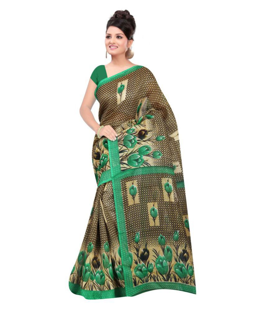 Vkaran Green Bhagalpuri Silk Saree