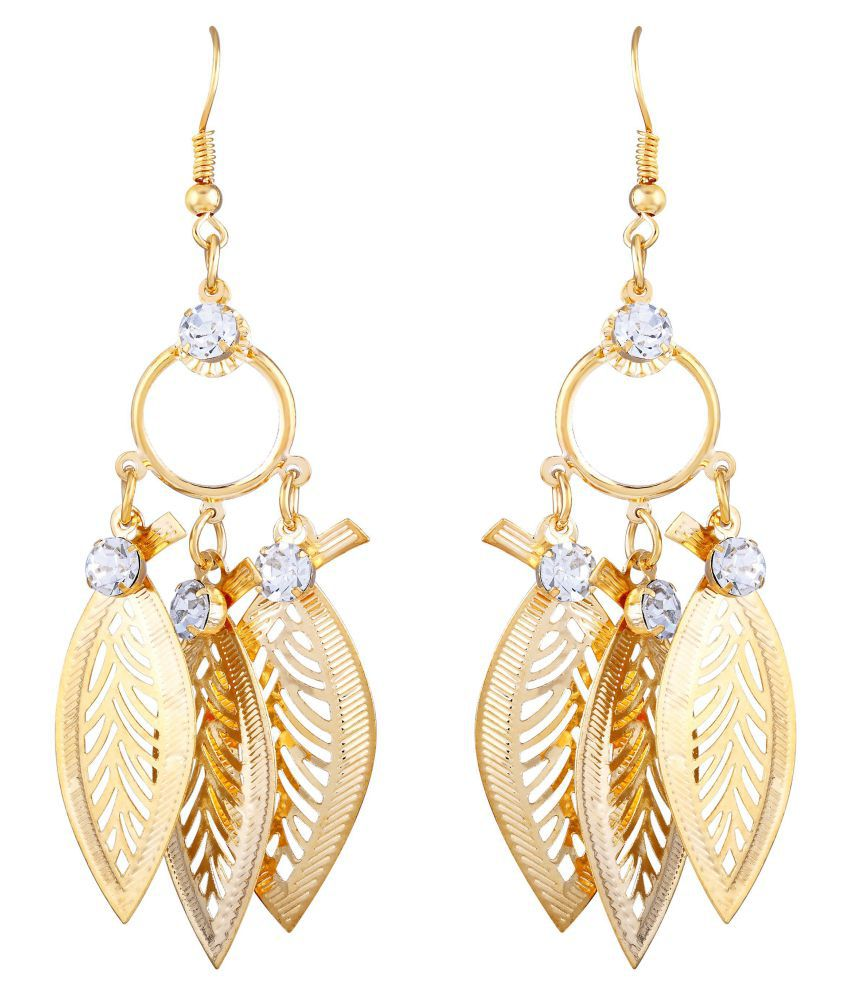 Asmitta Gleaming Leaf Earring With Round Shape Gold Plated Hanging Earring For Women