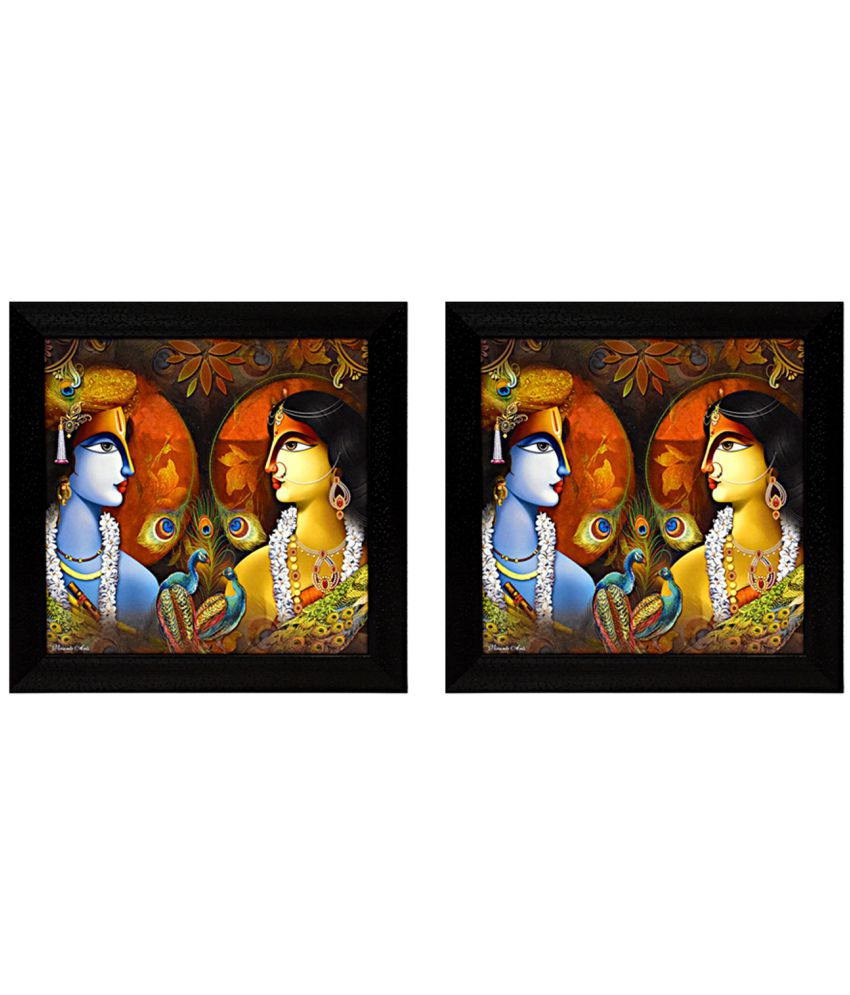 Gallery99 Radha Krishna with Peacock Canvas Painting With Frame